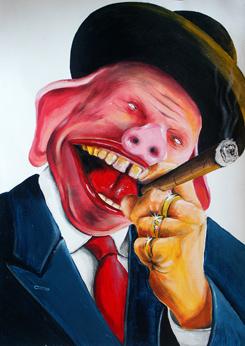 """""""Der Schweinehund"""" Karikatur von Rainer M. Osinger - Karikaturen, Cartoons, Comics, Schnellzeichnungen, Portraits von Rainer M. Osinger"""