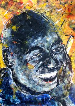 """Black MAN"" Portraitgemälde, Portrait, Portraitmalerei, Portraitillustration, Portrait auf Leinwand, Ölgemälde, Ölmalerei von Rainer M. Osinger, www.osinger-grafik.at, http://www.osinger-grafik.at/portrait_portraitmalerei_portraitgemaelde.html"