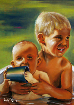 """Kinder baden"" Portraitgemälde, Portrait, Portraitmalerei, Portraitillustration, Portrait auf Leinwand, Ölgemälde, Ölmalerei von Rainer M. Osinger, www.osinger-grafik.at, http://www.osinger-grafik.at/portrait_portraitmalerei_portraitgemaelde.html"