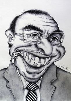 """""""Mund ZU"""" Karikatur von Rainer M. Osinger - Karikaturen, Cartoons, Comics, Schnellzeichnungen, Portraits von Rainer M. Osinger"""