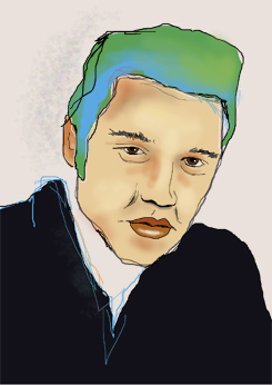 """Elvis"" Portraitgemälde, Portrait, Portraitmalerei, Portraitillustration, Portrait auf Leinwand, Ölgemälde, Ölmalerei von Rainer M. Osinger, www.osinger-grafik.at, http://www.osinger-grafik.at/portrait_portraitmalerei_portraitgemaelde.html"