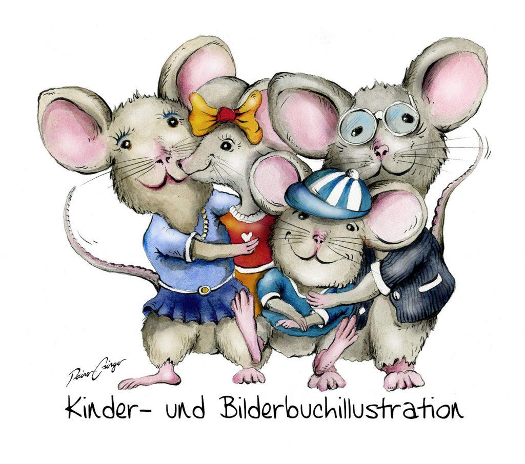 Kinderbuch- und Bilderbuchillustrationen von Rainer M. Osinger. Buchillustrationen für Verlage und Magazine. Schulbuchillustrationen und Verlagsillustrationen